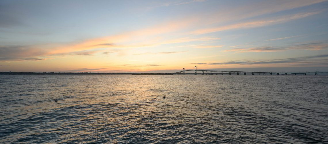 Newport Bridge at sunset.